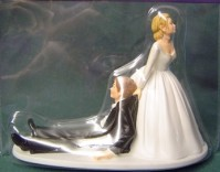 Cake Topper - Humerous - Bride with Sitting Groom
