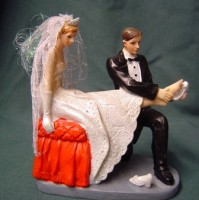 Cake Topper - Putting on Brides shoe