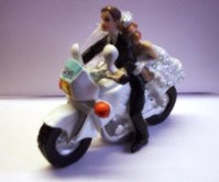 Cake Topper - Bride and Groom on a Motorbike