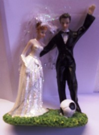 Cake Topper - Bride and Footballer Groom