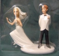 Cake Topper - Humerous - Groom with Runaway Bride