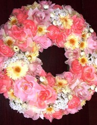 Floral Wreath Pink - Yellow 35cm