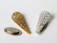 Filigree Cone Swirl Design Gold and Silver
