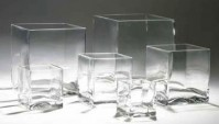 Glass Cube - Clear - Black - Silver