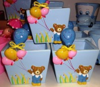 Bear and Balloon - Blue