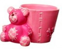 Stitched Planter with Bear - Pink