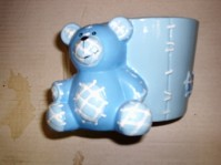 Stitched Planter with Bear - Blue