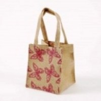 Small Hessian Bag - Butterfly - Purple