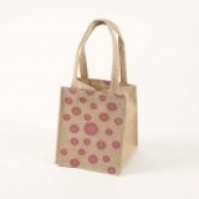 Small Hessian Bag - Daisy - Pink - Purple