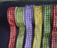 Wired Edge Satin - Gingham - 40mm x 25m
