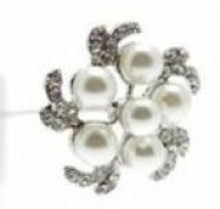 Truffle Brooch Pin - Cream - Silver