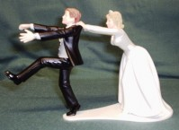 Cake Topper - Humorous - Bride with Runaway Groom
