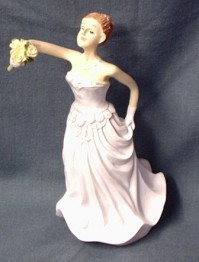 Cake Topper Bride with Bouquet Aloft