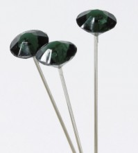 Diamante Pins Silver Pin with a Black Head