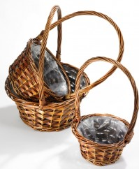 Willow Basket - With Handle - Dark Stained