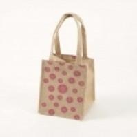Small Hessian Bag - Daisy - Pink - Purple