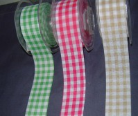 Linen Ribbon - Gingham - 38mm x 20m